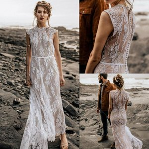 Bohemian Full Lace Beach Wedding Dresses Sheath Cap Sleeve 2020 Boho Garden Bridal Gowns Buttons Back Floor Length Robes De Mariee AL6566