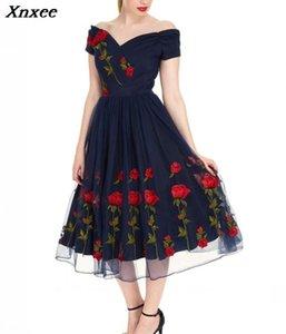 Xnxee Plus Size 5XL 2020 Frauen-Weinlese weg vom Schulter-Mesh-Spitze-Sommer-Kleid Retro Rockabilly Big Swing-Party Kleider Xnxee