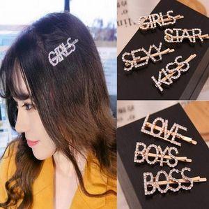 Clips Carta de las horquillas del Rhinestone Mujeres pernos de pelo Barrettes accesorios para la mujer pelo de las muchachas de Hairclip Hairgrip Toca D73102 joyería