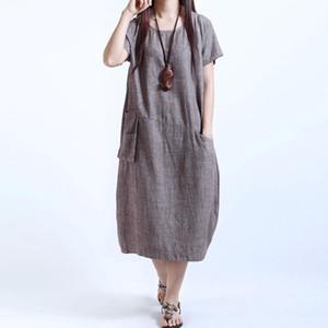 Летние платья Женщины Повседневная Женщины Хлопок белье с коротким рукавом Длинные свободные платья макси сарафан одежда M-5XL