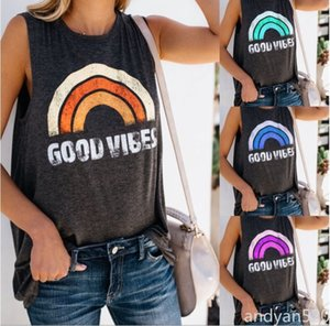 Wholesale high quality 2020 summer sales hot style ladies tank top GOOD VIBES print round neck sleeveless T-shirt