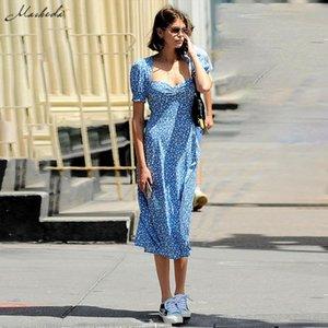 Macheda French Romance Retro Dresses Women Casual Floral Print Square Collar Dresses Ruffles Puff Sleeve Midi Dresses Lady 2019 Y200101