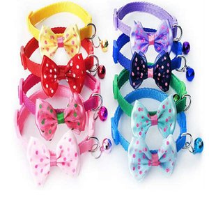 Popular Pets Doggy Bowknot Tie Necktie Adjustable Charm Mini Bell Dotted Printed Cat Dog Collar Pet Puppy Necklace Multi Color