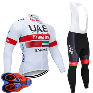 UAE Abu Dhabi Team Men's Cycling Jersey Long Sleeve bib Pants Sets Quick Dry bicycle outfits Sport uniform S101501