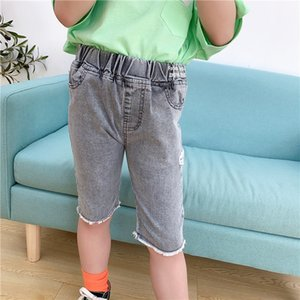 2TB3t clothing 2020 new letter waist five-legged pants male and female Children's Wool children's clothing Korean-style hole-breaking pants