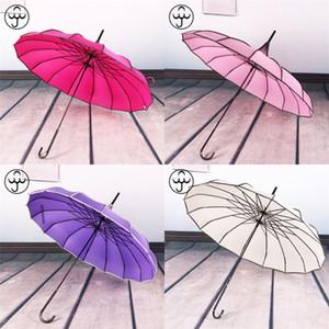 16K Uzun Sap Şemsiye Düz Bar Açık Güneşlik Rüzgar kesici Gelin Şemsiye Baobian Pagoda Düğün Süsleme Lotus şekil 22hh B2