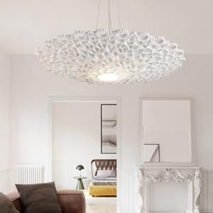 Modern Honeycomb LED Pendant Light White Resin Openwork Flower Living Room Dining Room Bedroom Ceiling Lamp Lighting Fixture PA0157