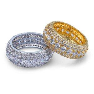 Ice Fora Hiphop Diamond Ring por Homens Bling Cubic Zirconia Mens Hip Hop jóias de ouro prata banhado Cluster Anéis Atacado
