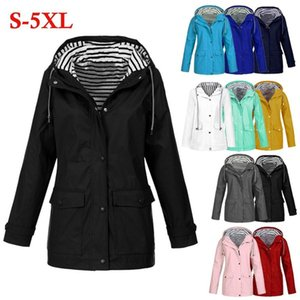 Women Solid Rain Jacket Outdoor Plus Waterproof Hooded Raincoat Windproof