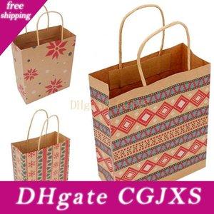 Weihnachtseinkaufstasche Kraftpapier Geometrische Druck Kinder Süßigkeit Handtaschen Geschenke-Verpackungs-Beutel für Weihnachten Party Supplies 1 06bm E1
