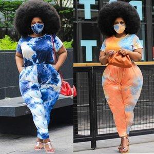 Jumper Été manches courtes Pantalons longues Taille Plus Femme Vêtements Tie Dye combis 2020 Femmes Designer