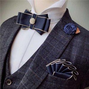 Ücretsiz Kargo Yeni 2020 erkek erkek adam yaka Kore Çift katmanlı damat papyon broş cep havlu 3 adet set elbise düğün