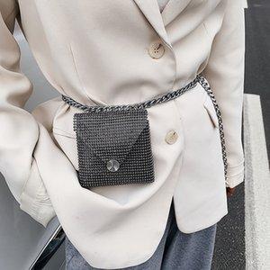 Diamond Waist Belt Women Mini Chain Crossbody Bags Waist Pouch Trouser Chain Belt Fashion Small Lipstick Shoulder Bag Mini Purse