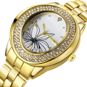 On Sale Clean Stock Big Case Watch for women White and Gold Trendy Flower dial Crystal Oval Shape Watches