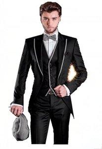 Shiny Black Handsome Groom Tuxedos Peak Lapel Man Prom Busienss Suit Wedding Party Prom Dress Set (Jacket+Pants+Vest+Tie) J358