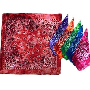 54*54CM Cotton Novelty Double Sided Tie Dye Bandanas Cowboy Bandana Handkerchiefs Paisley Tie Dye Head Wrap Scarf EEA1877