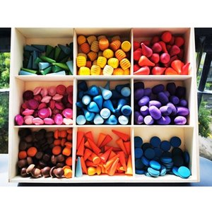 Bambini Giocattoli di legno Arcobaleno Block allentato parti del fungo a nido d'ape goccioline albero Coni Coni Building Blocks creativi per i bambini