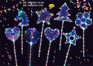 Светодиодный светлый воздушный шар сверкающие струны огни BOBO Ball Heart Unicorn Форма звезда Палочки Воздушные шары Рождественские свадьбы декорки декорки игрушки C121902