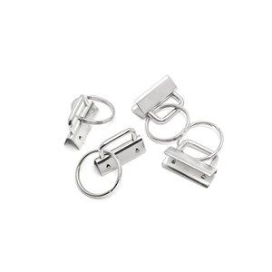 50 Ensembles 25MM Wristlet clefs en chaîne matériel de bricolage Ensembles avec porte-clés PLOMB queue clip Sac Ruban queue clip 25 mm Nickel Métal Porte-clés