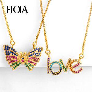 FLOLA Rainbow Butterfly Necklaces & Pendant Woman CZ Minimalist Love Rainbow Necklace Gold Filled Jewelry collar arcoiris nkep79