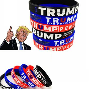 Trump 2020 bracelet Silicone Rubber Sport Wrist Band Trump Supporters Bangles Wristbands for President Vote 2020 party favor LJJK2446