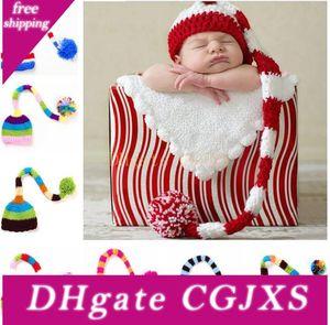 Handmade Knit chapéu de Santa Crochet Bebê Xmas bonés menina do menino do bebê Pompom Natal Hat infantil Cauda Longa Stripe Gorros partido prop chapéus JXW482