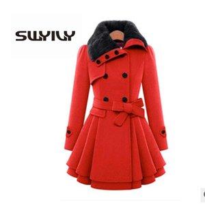 SWYIVY Women Woolen Coats Jacket Fur Warm Long Design 2018 Winter New Female Fashion Woolen Coat Large Size 4XL Woman Jacket LY191223
