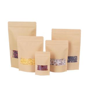 Window zipper brown white kraft paper bag vertical kraft paper aluminum bag resealable zipper handle seal food grade