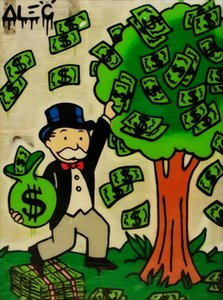 Alec Monopoly graffiti art Money Tree Home Decor Handpainted &HD Print Oil Painting On Canvas Wall Art Canvas Pictures 1225