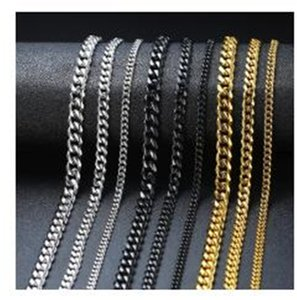 Basic Punk Stainless Steel Necklace for Men Women Curb Cuban Link Chain Chokers Vintage Black Gold Tone Solid Metal