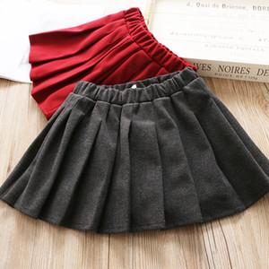2020 fall new kids woolen skirt girls elastic waist pleated skirt children all-match woolen skirts children clothing A3659