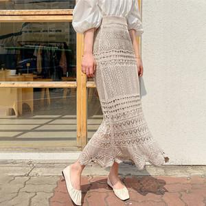 Verão Knitting oco Out saias longas Mulheres de Slim Elastic cintura alta férias Maxi Skirt Feminino 2020 Senhora elegante Moda inferior