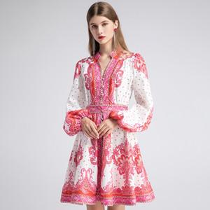 Moda runway autunno camicia stile abito donna lanterna manica singolo petto stampa vacanze vintage mini abito