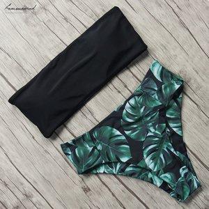 Women Swimwear Printed Swimsuit 2020 Sexy Off Shoulder Bathing Suits Beachwear High Waist Brazilian Bikini Sets