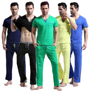 WJ men's home pure cotton wear pants Home wear casual pants short-sleeved top casual suit 1017TZ