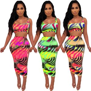 Summer set 2020 New in Europe and America Fashion Women's Two Piece sets Print tie-dye sexy multicolor skirt two-piece suit