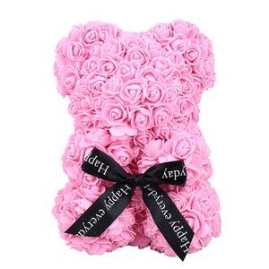 PE Artificial Rose Bear Dolls Rose Bear Wedding Girlfriend Love Birthday Decorations Romantic Toy Simulated Gift