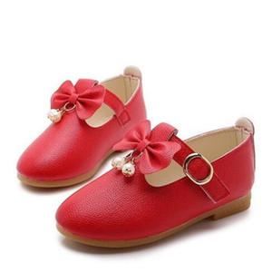 2020 Yeni Bahar Sonbahar Prenses Kız Ayakkabı Çocuk Casual Sneaker Ayakkabı Çocuk Düz Yuvarlak Kafa Moda Bow Çocuk Deri Shoes