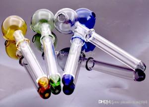 12cm bola de cristal de 30 mm de longitud de tubo quemador de aceite de color Mini Handle Tubos de fumadores fumar 10pcs tubería tuberías gota de vidrio de envío