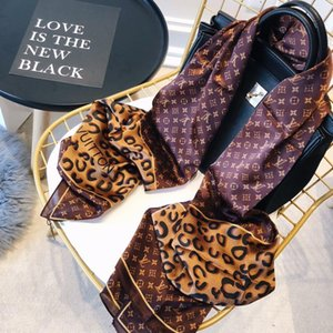 Factory Sell Top Quality Celebrity design 100% Silk Cotton Scarf wrap shawl Woman Leopard Letter Printing Long Scarves 180*90CM brown