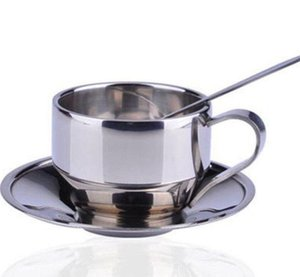 Coffee Cup Sets Double wall stainless steel cup set coffee cup mat spoon 3pcs one set stainless steel coffee cups KKA6377