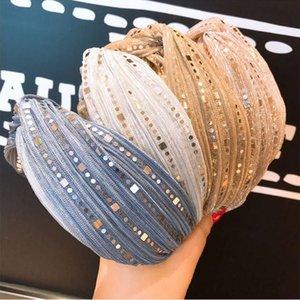 Cruz lentejuelas encaje de ala ancha Bandas de pelo de las vendas para las mujeres accesorios para el cabello banda del aro de las vendas de Corea