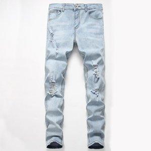 Personalità Nuova Moda Uomo strappato Slim Fit Zipper Denim stretch Pantaloni Mens super skinny Jeans Vaqueros Hombre Nuovo