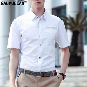 Gaupucean Sommer Man Einreiher 100% Baumwolle männlich Marine Weiß Grau Blau Short Sleeve Solide Geschäfts-formale Männer Hemd