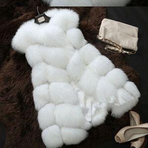 La nueva capa de la manera de la piel de imitación de invierno chaqueta de las mujeres Streetwear Casual delgada caliente sin mangas de piel falsa chaleco casaco feminino
