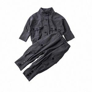 DFXD Çocuk Giyim Erkekler Kızlar Giyim Seti Yeni Bahar 2PC Jeans Kıyafet Seti Lokomotif Denim Ceket + Pantolon Pamuk Kargo Suit 1-7Yrs ACFM #