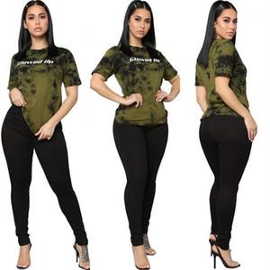 Женщины Летней одежды Женщина Tie окрашенная 2 Oiece Комплекты Casual с коротким рукавом светился Up Письма из двух частей Брюки