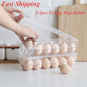 1 2pcs 12 Eggs Tray Thicken Plastic Transparent Eggs Storage Container Egg Holder for Home Kitchen Refrigerator Egg Crisper