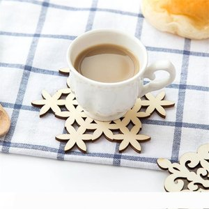 Wooden Snowflake Mug Coasters Holder Chic Drinks Coffee Tea Cup Mat Decor Mats 120pcs lot
