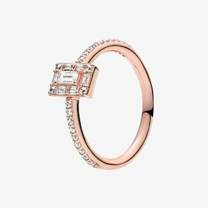 Rose gold plated CZ diamond Wedding RING Women Girls Gift Jewelry for Pandora 925 Silver Sparkling Square Halo Ring with Original box